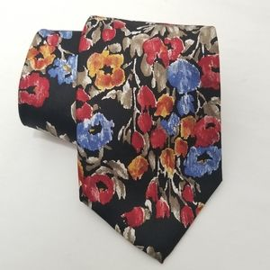 🤑 4/$25 Floral Silk Tie Clubfellow Grey Blue Gold